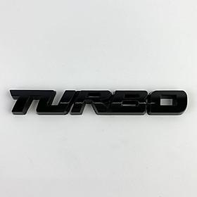 Tem chữ kim loại TURBO nổi cá tính trang trí xe hơi ( Màu đen)