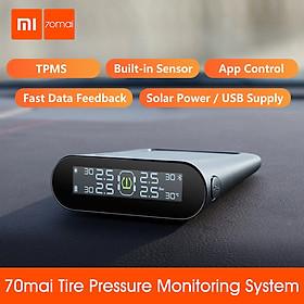Xiaomi 70mai TPMS Màn hình áp suất lốp Tpms Năng lượng mặt trời Usb Android USB Tmps 70 Mai Hệ thống cảm biến xe hơi Cảnh báo
