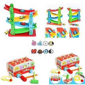 Combo đồ chơi gỗ trí tuệ - Bộ đồ chơi mô hình cầu trượt ô tô 4 tầng và Bộ đồ chơi xe bus vui vẻ kết hợp đập chuột tặng 1 quạt cầm tay BTS siêu hot