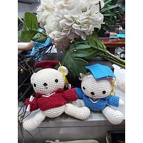 Gấu len đội mũ tốt nghiệp mũ  – gói quà miển phí, quà tặng tốt nghiệp TN-GL01