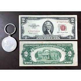Tiền cổ thế giới, tờ 2 USD 1953 của Mỹ sưu tầm (kèm móc khóa Bitcoin lạ mắt)