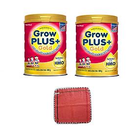 Combo 2 hộp Sữa bột GROW PLUS + GOLD lon 900g có HMO - của NutiFood, dành cho trẻ suy dinh dưỡng, thấp còi, tặng khăn mặt bông mềm mịn cho bé