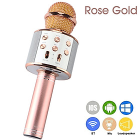 WS-858 Portable Wireless Karaoke Microphone Handheld Cellphone Karaoke Player Built-in BT HIFI Speaker Selfie 3-in-1