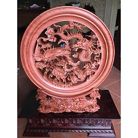 Tranh đĩa Tứ Linh gỗ Hương nguyên khối, đế rồng, nhiều kích thước lựa chọn