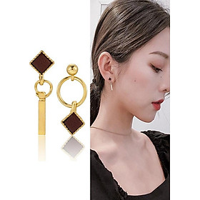 Bông tai khuyên tai nữ hình học tròn vuông chữ nhật Hàn Quốc 2020