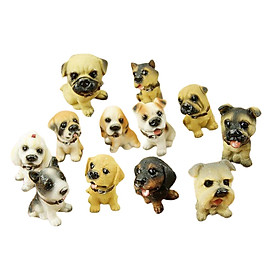 12 Pcs Miniature Dogs Figurines, Cute Little Resin Puppy Toys Dog Crafts for Home Dollhouse Desk Micro Garden Ornaments Kids Christmas Birthday Gift