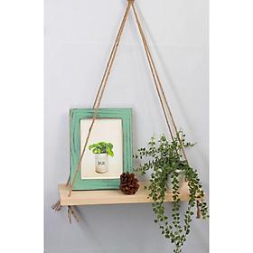Kệ gỗ treo tường trang trí đa năng treo bằng dây thừng - Kích thước 40x10cm