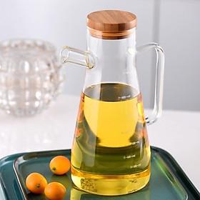 Bình thủy tinh, chai lọ có nắp gỗ, nút silicon Oil Can đựng dầu ăn, giấm, nước tương, nước mắm - VD55