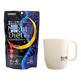 Combo Cốc uống nước màu trắng + Trà ORIHIRO Night diet tea nhập khẩu nhật bản