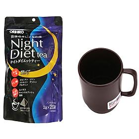 Combo Cốc uống nước màu nâu  + Trà  ORIHIRO  Night diet tea nhập khẩu nhật bản