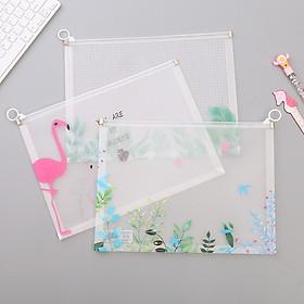 Bộ 3 túi zip đựng file đựng bút nhựa mềm họa tiết dễ thương