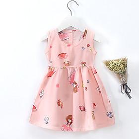 Váy, đầm bé gái mùa hè chất cotton đũi thoáng mát nhiều hoạt tiết dễ thương QATE18