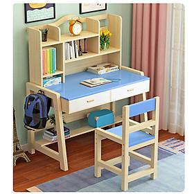Bộ bàn ghế học sinh bằng gỗ thông, bàn học cho bé, bàn học kèm giá sách BAH046