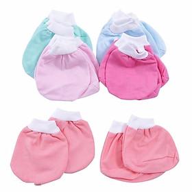 Combo 10 cặp bao Tay +10 cặp bao chân cotton  màu cho bé