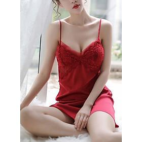 Váy hai dây CÓ ĐỆM NGỰC mặc ở nhà đi ngủ rất tiện lợi sang chảnh- Hàng cao cấp ( SEXY ĐỎ CÓ ĐỆM)
