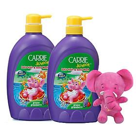 Combo 2 chai tắm gội toàn thân cho trẻ Carrie Junior Hương Grapeberry (700g*2)+ Tặng kèm 1 Voi bông xinh xắn