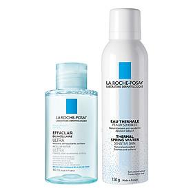 Bộ chăm sóc da Nước Tẩy Trang Làm Sạch Sâu Cho Da Nhạy Cảm La Roche-Posay Micellar Water Ultra Sensitive Skin (100ml) + Nước Khoáng Làm Dịu Và Bảo Vệ Da - Thermal Spring Water Sensitive Skin La Roche Posay (150ml)