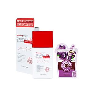 Kem Chống Nắng  Kiềm Dầu, Lâu Trôi Angel's Liquid Whitening Program Glutathione UV Skin Save Long Lasting SPF50+ PA+++ (50ml) + Tặng Kèm 1 Mặt Nạ Trái Cây ( Loại Ngẫu Nhiên)
