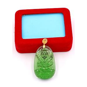 Hình đại diện sản phẩm Mặt dây chuyền Hư Không Tạng bồ tát - pha lê xanh lá 5cm MFNXL6 - kèm hộp nhung - tuổi Sửu, Dần