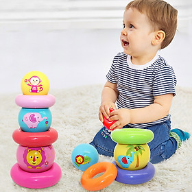 Fisher Fisher-Price Early Learning Puzzle rainbow stacked balls (infant children stacked layers of children's toys pink ball) F0922