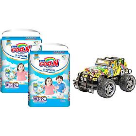 Combo 2 bịch Tã quần Goon Premium cao cấp gói siêu đại XL52 (12kg ~ 17kg) + Bộ đồ chơi xe điều khiển cao cấp