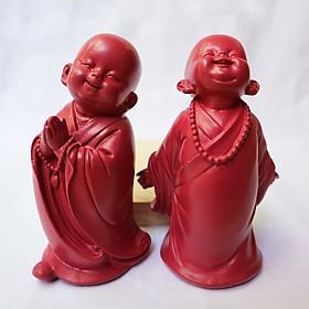 Bộ tượng 2 Chú tiểu vui vẻ - an nhiên
