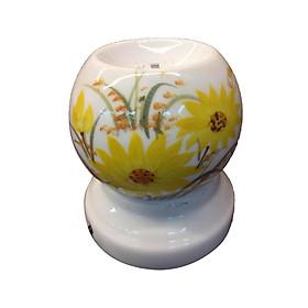 Đèn mini xông tinh dầu Bát Tràng họa tiết hoa cúc vàng