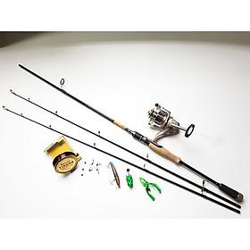 Bộ Cần Câu Lure Super 2 ngọn + máy câu cá TFB + mồi câu lure kèm phụ kiện