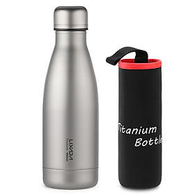 Lixada 550ml / 680ml Titanium Water Bottle Lightweight Outdoor Sports Bottle for Camping Hiking Cycling Backpacking