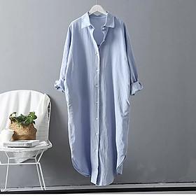 Đầm sơ mi dáng suông chất đũi ArcticHunter, chất vải thô đũi mềm mát, thời trang thương hiệu chính hãng