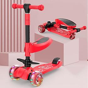Xe scooter 3 bánh tự cân bằng, 3in1 có ghế gấp gọn, xe chòi chân thăng bằng , xe trượt 3 bánh có nhạc và đèn chiếu sáng (đỏ))
