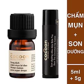 Combo chấm mụn bí đao cocoon 5ml giảm sưng ngừa mụn + son dưỡng môi bến Tre dầu dừa cocoon 5g