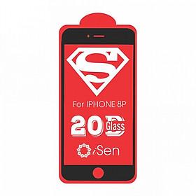 Kính cường lực dành cho IPhone 7 Plus, 8 Plus 20D full màn hình siêu cứng ISEN KC20 - Hàng chính hãng