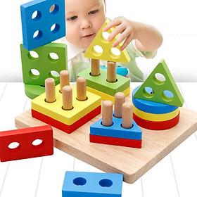 Đồ chơi trụ thả hình thông minh bằng gỗ