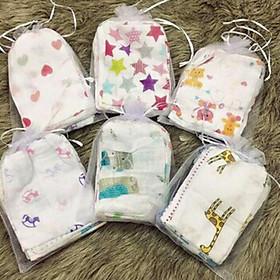 Set 10 khăn sữa túi lưới cho bé - Tặng kèm 01 bịch tã lót phân su cho bé