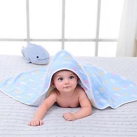 Khăn ủ, khăn tắm, chăn ủ sợi tre 6 lớp in hình 2 mặt có mũ cho bé