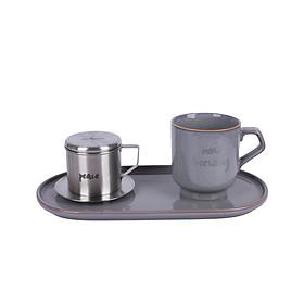 Bộ pha cafe Vintage 3 món (phin cafe, cốc và đĩa sứ 30cm) Sa Maison