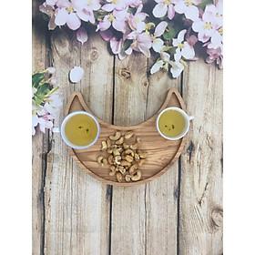 Khay gỗ decor hình mặt trăng khuyết dùng đựng bánh mứt, hạt dưa, thực phẩm,...
