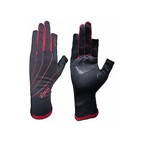 Găng tay hở ngón chống nắng UPF50+ đen đỏ Zigzag GLV00801