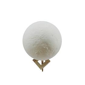 Đèn Ngủ Hình Mặt Trăng 3D Sạc Cổng USB Có Giá Đỡ Bằng Gỗ