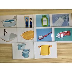 Bathroom Object Flashcards - Thẻ học tiếng Anh chủ đề Đồ vật nhà tắm - 10 cards
