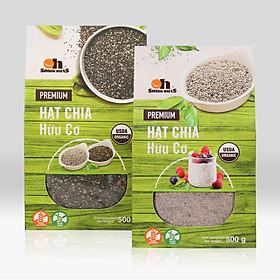 Combo Hạt Chia đen 500g + Hạt Chia trắng 500g Smile Nuts (Hạt chia hữu cơ nhập khẩu từ Nam Mỹ - Hạt sạch, sáng, nở đều)