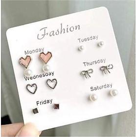 Combo 6 đôi bông tai , bông sát tai đa dạng , phụ kiện trang sức thời trang Hàn Quốc.