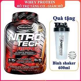 Combo Sữa tăng cơ giảm mỡ Whey Protein Nitro Tech Ripped của Muscle Tech hương Chocolate hộp 42 lần dùng hỗ trợ tăng cơ, giảm cân, đốt mỡ cực mạnh & Bình lắc 600ml (Mẫu ngẫu nhiên)