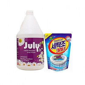 Combo 01 nước giặt xả Thái Lan July 2X Vivid Purple 3500ml + 01 gói tẩy lồng máy giặt Hàn Quốc 450g