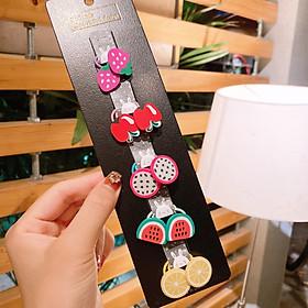 Set 10 dây cột tóc họa tiết Hoa Quả màu sắc cho bé gái