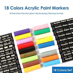 Bộ bút lông acrylic 18 màu H&B đầu ngòi siêu mảnh 0.7mm dùng cho trang trí, văn phòng phẩm