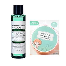 Nước hoa hồng dưỡng ẩm và giảm mụn Some By Mi AHA- BHA- PHA 30 Days Miracle Toner 150ml tặng kèm mũ trùm tóc siêu xinh