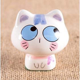 Tượng trang trí gốm sứ mèo kute mặt ngơ ngác