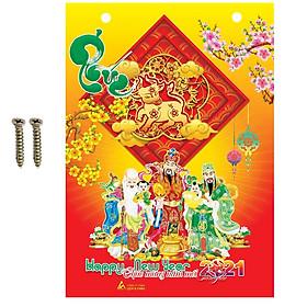 Lịch Bloc 2021 Tân Sửu Phước Lộc Thọ có đóng lỗ và ốc kèm theo kích thước 14 x 20 cm